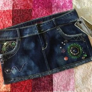 Bebe NWT Distressed/Jeweled/Stained Mini Skirt